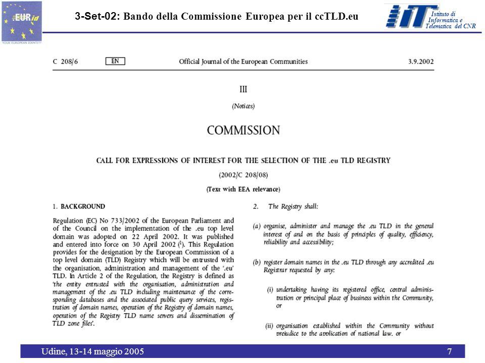 Istituto di Telematica del CNR Informatica e Udine, 13-14 maggio 20057 3-Set-02: Bando della Commissione Europea per il ccTLD.eu