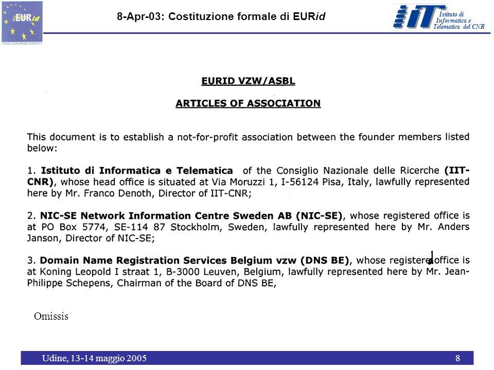 Istituto di Telematica del CNR Informatica e Udine, 13-14 maggio 20058 8-Apr-03: Costituzione formale di EURid Omissis