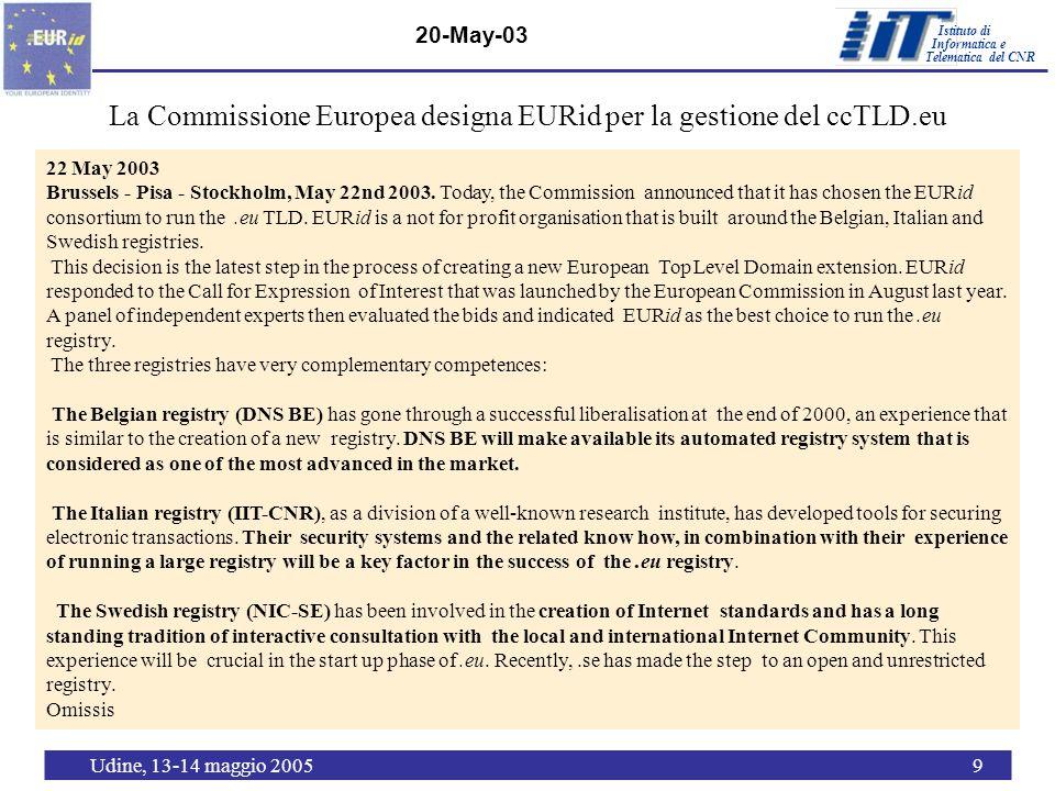 Istituto di Telematica del CNR Informatica e Udine, 13-14 maggio 20059 20-May-03 La Commissione Europea designa EURid per la gestione del ccTLD.eu 22 May 2003 Brussels - Pisa - Stockholm, May 22nd 2003.