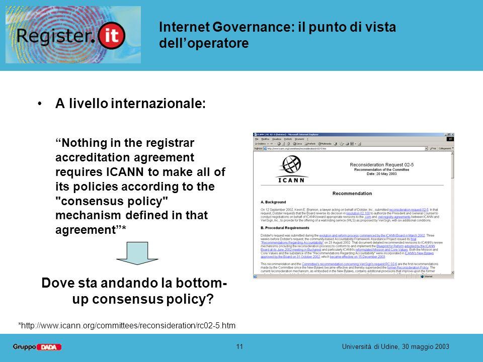 11Università di Udine, 30 maggio 2003 Internet Governance: il punto di vista delloperatore A livello internazionale: Nothing in the registrar accredit