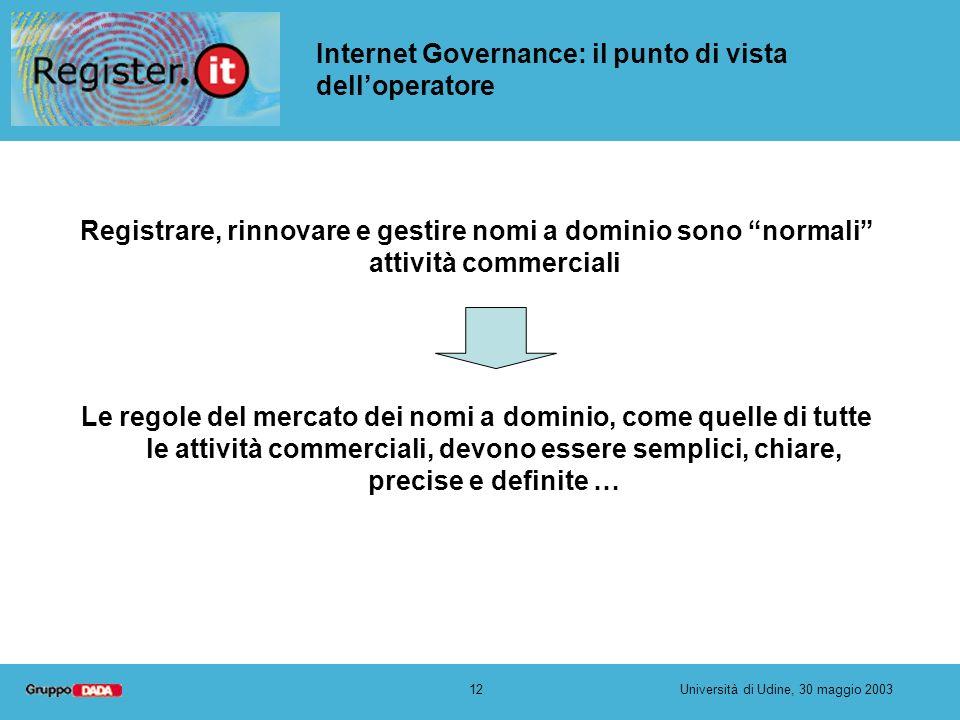 12Università di Udine, 30 maggio 2003 Internet Governance: il punto di vista delloperatore Registrare, rinnovare e gestire nomi a dominio sono normali