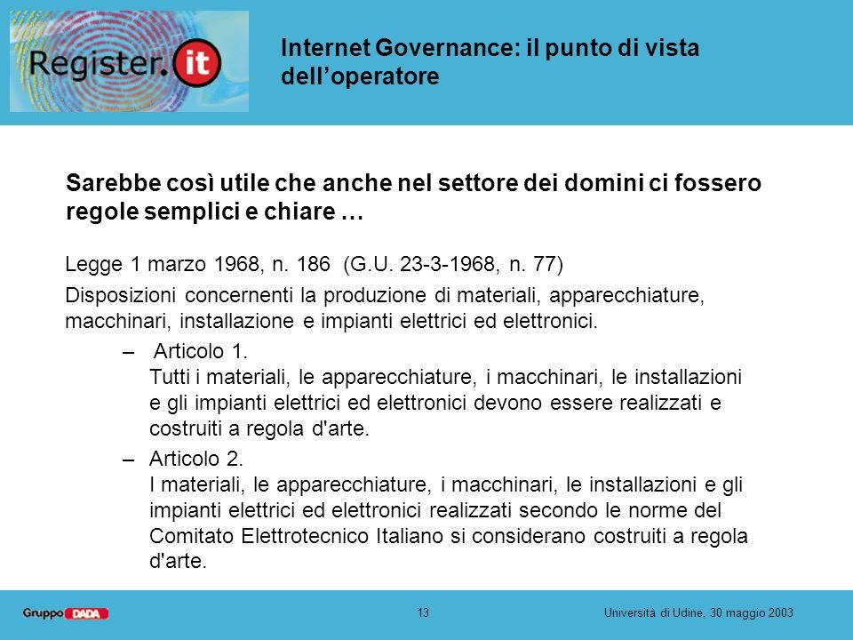13Università di Udine, 30 maggio 2003 Internet Governance: il punto di vista delloperatore Sarebbe così utile che anche nel settore dei domini ci foss