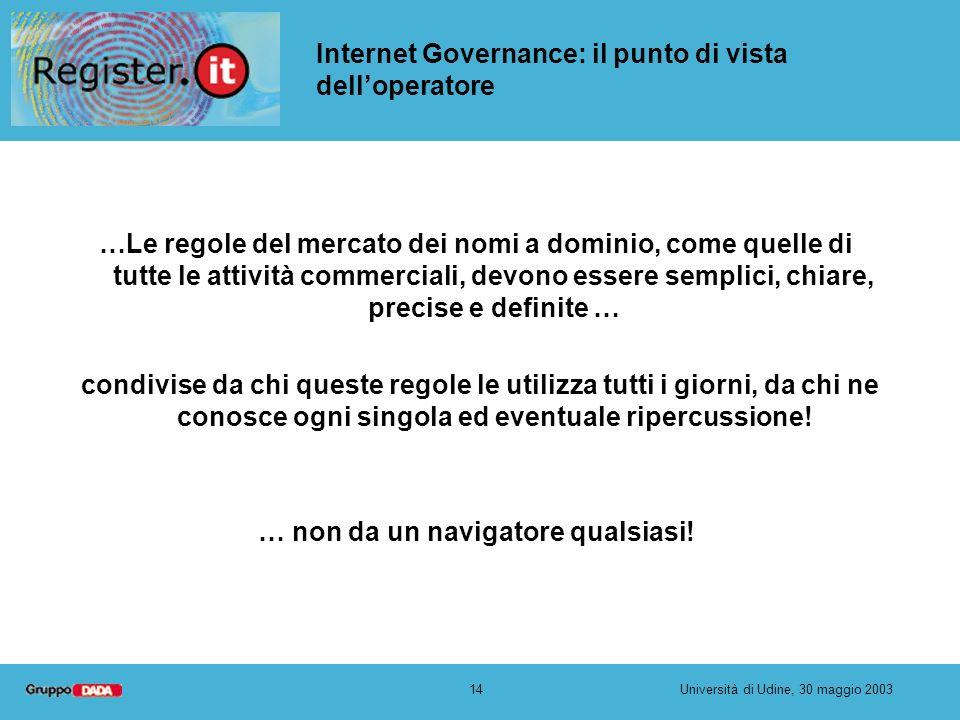 14Università di Udine, 30 maggio 2003 Internet Governance: il punto di vista delloperatore …Le regole del mercato dei nomi a dominio, come quelle di t