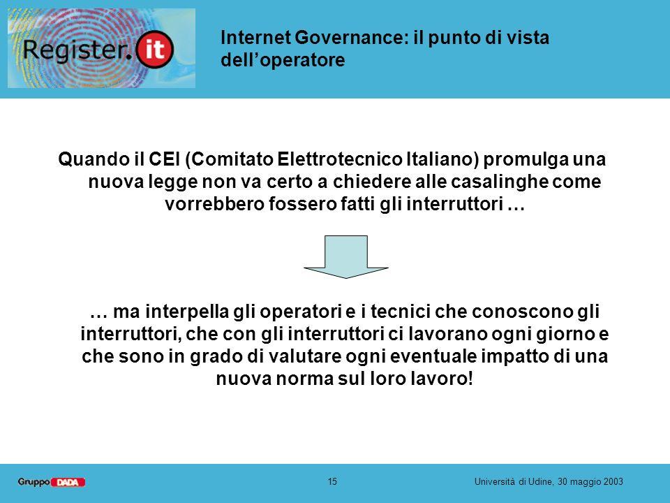 15Università di Udine, 30 maggio 2003 Internet Governance: il punto di vista delloperatore Quando il CEI (Comitato Elettrotecnico Italiano) promulga u