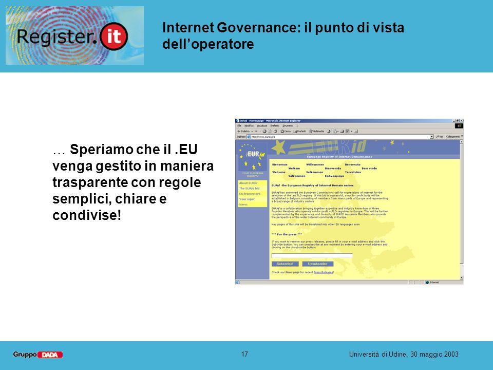 17Università di Udine, 30 maggio 2003 Internet Governance: il punto di vista delloperatore … Speriamo che il.EU venga gestito in maniera trasparente con regole semplici, chiare e condivise!