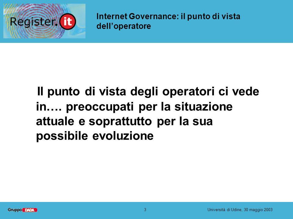 3Università di Udine, 30 maggio 2003 Internet Governance: il punto di vista delloperatore Il punto di vista degli operatori ci vede in…. preoccupati p