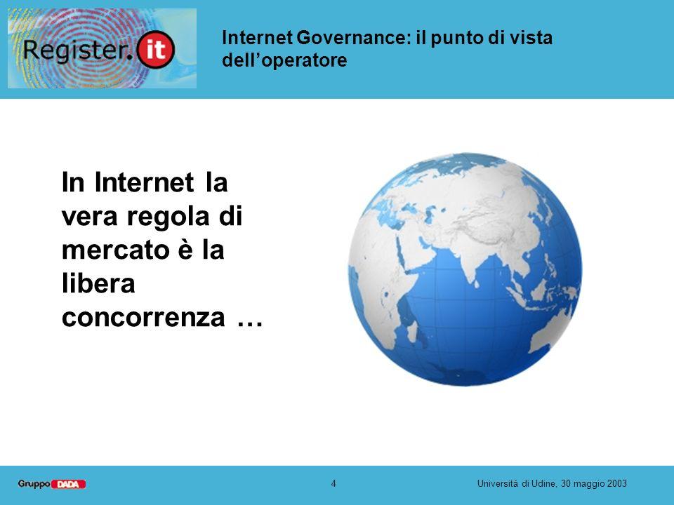 4Università di Udine, 30 maggio 2003 Internet Governance: il punto di vista delloperatore In Internet la vera regola di mercato è la libera concorrenz