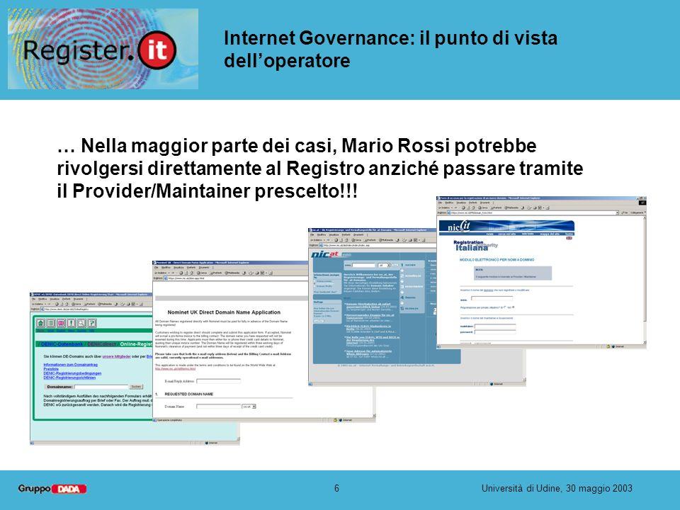 6Università di Udine, 30 maggio 2003 Internet Governance: il punto di vista delloperatore … Nella maggior parte dei casi, Mario Rossi potrebbe rivolgersi direttamente al Registro anziché passare tramite il Provider/Maintainer prescelto!!!
