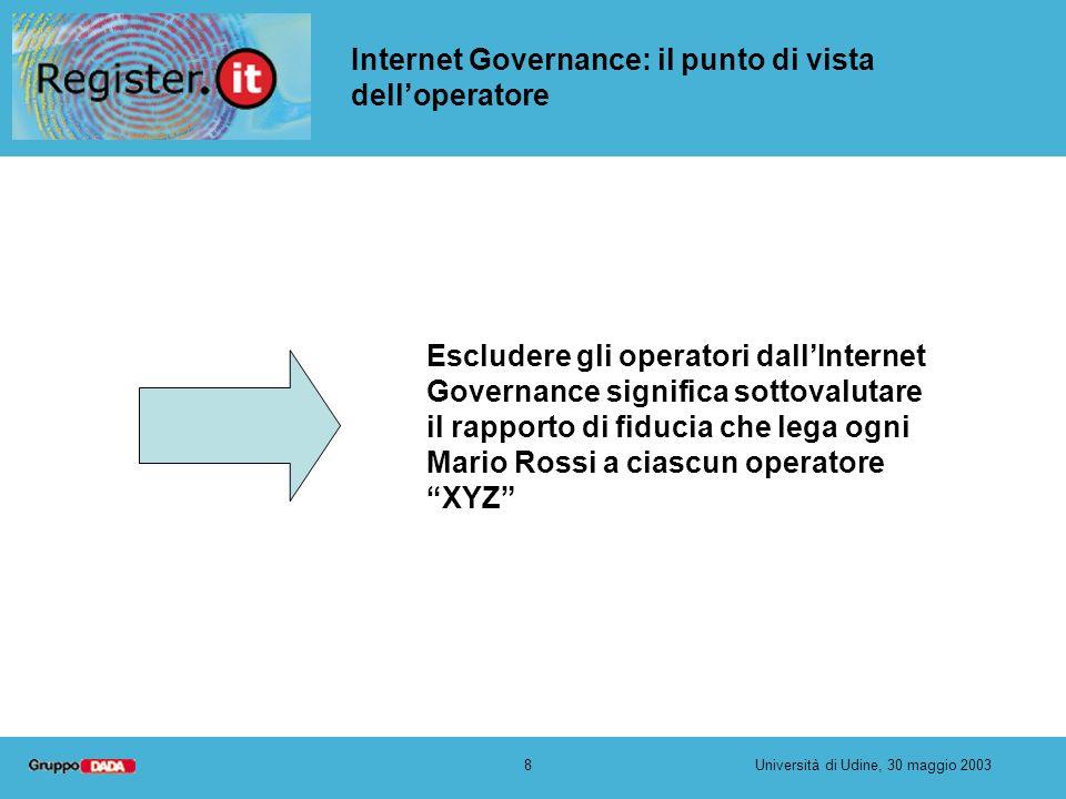 8Università di Udine, 30 maggio 2003 Internet Governance: il punto di vista delloperatore Escludere gli operatori dallInternet Governance significa so