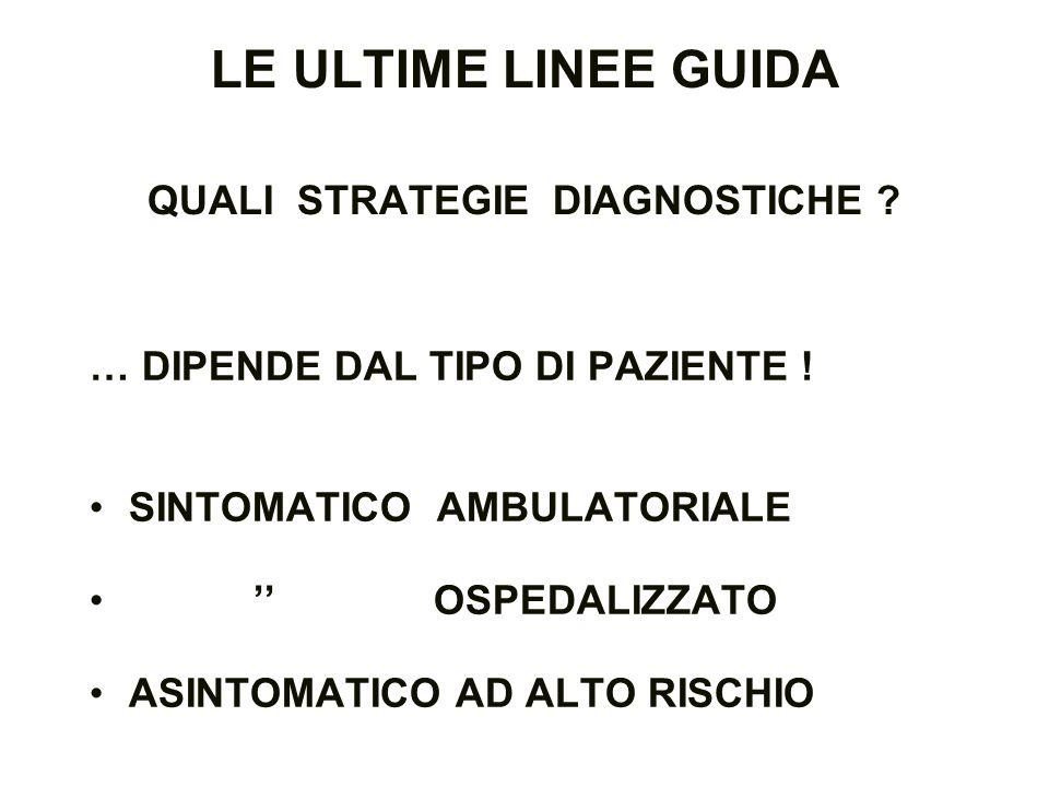 LE ULTIME LINEE GUIDA QUALI STRATEGIE DIAGNOSTICHE ? … DIPENDE DAL TIPO DI PAZIENTE ! SINTOMATICO AMBULATORIALE OSPEDALIZZATO ASINTOMATICO AD ALTO RIS