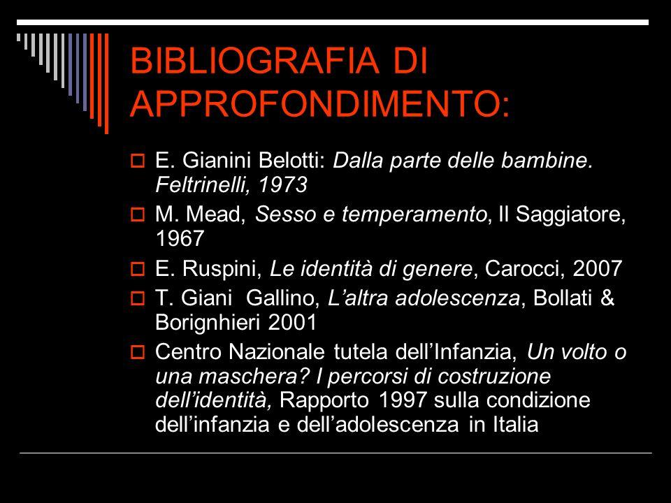 BIBLIOGRAFIA DI APPROFONDIMENTO: E. Gianini Belotti: Dalla parte delle bambine. Feltrinelli, 1973 M. Mead, Sesso e temperamento, Il Saggiatore, 1967 E