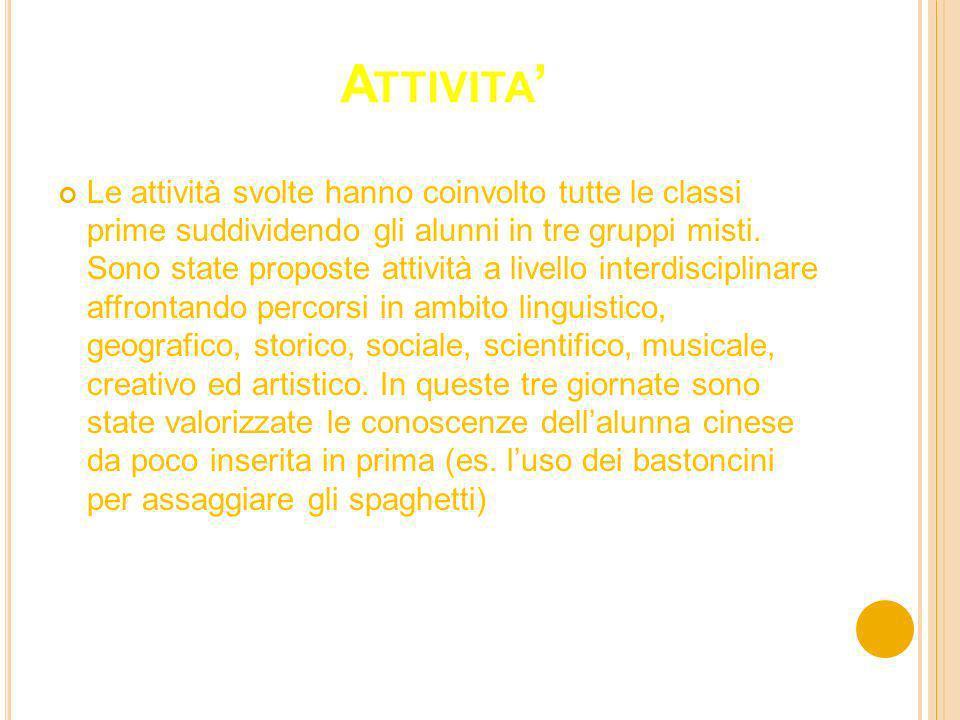 A TTIVITA Le attività svolte hanno coinvolto tutte le classi prime suddividendo gli alunni in tre gruppi misti.