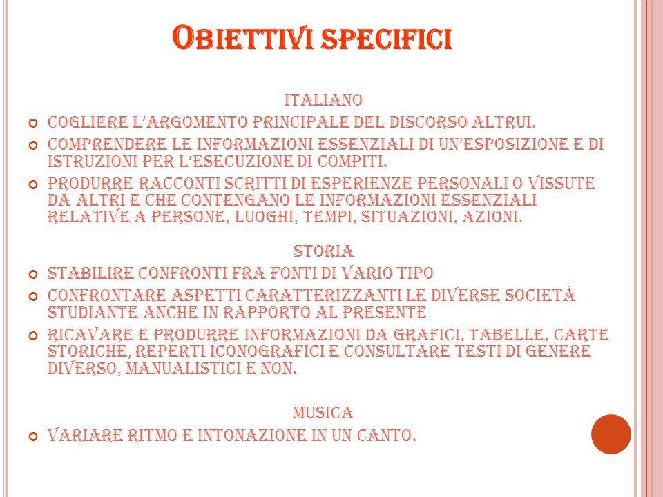 O BIETTIVI SPECIFICI ITALIANO Cogliere largomento principale del discorso altrui. Comprendere le informazioni essenziali di unesposizione e di istruzi