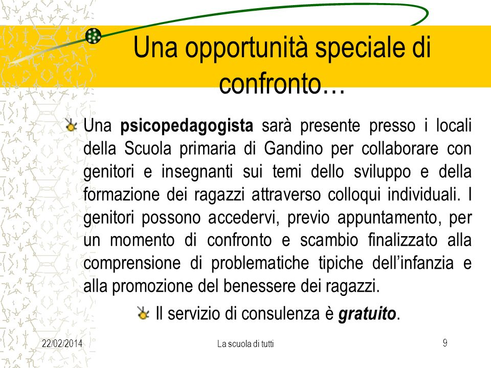 22/02/2014La scuola di tutti 9 Una opportunità speciale di confronto… Una psicopedagogista sarà presente presso i locali della Scuola primaria di Gand