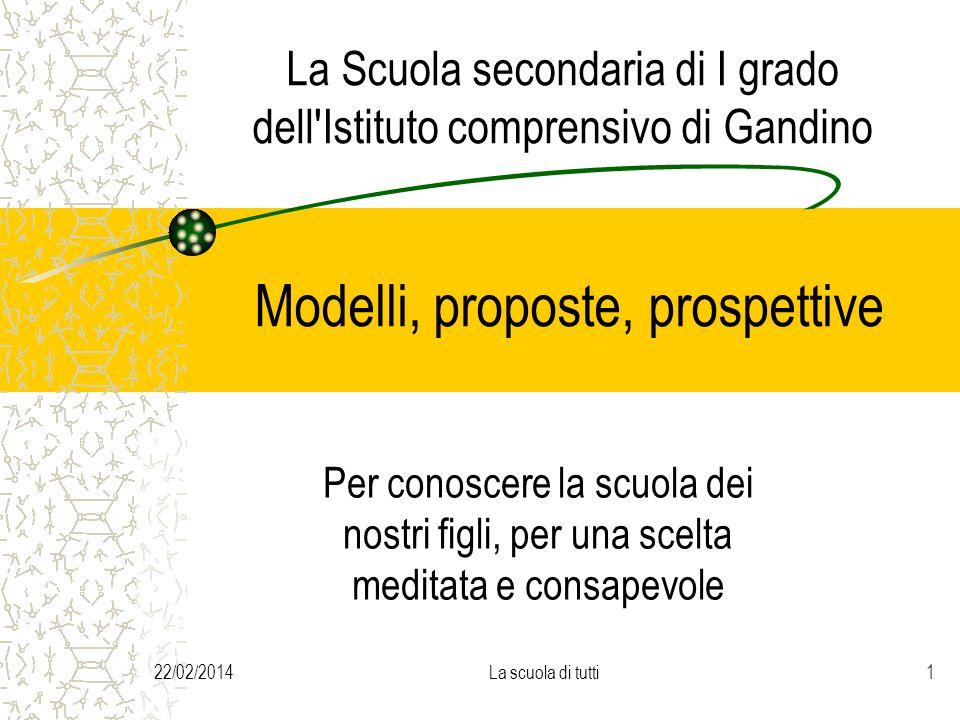 22/02/2014La scuola di tutti1 La Scuola secondaria di I grado dell'Istituto comprensivo di Gandino Modelli, proposte, prospettive Per conoscere la scu