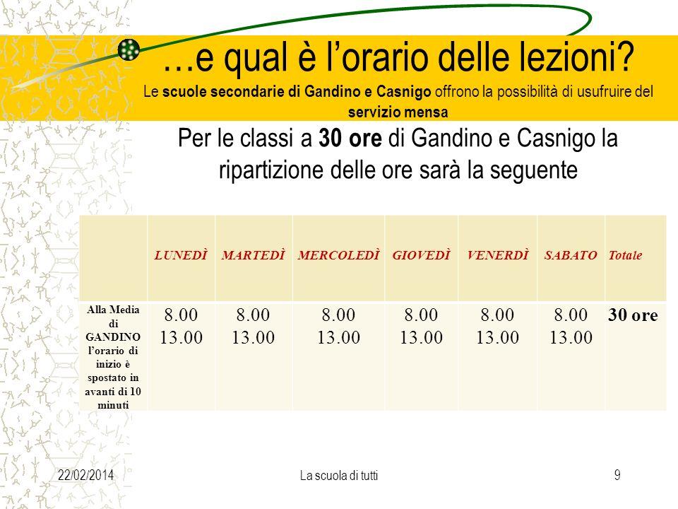 …e qual è lorario delle lezioni? Le scuole secondarie di Gandino e Casnigo offrono la possibilità di usufruire del servizio mensa Per le classi a 30 o