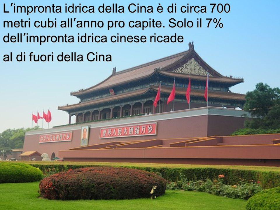 Limpronta idrica della Cina è di circa 700 metri cubi allanno pro capite. Solo il 7% dellimpronta idrica cinese ricade al di fuori della Cina