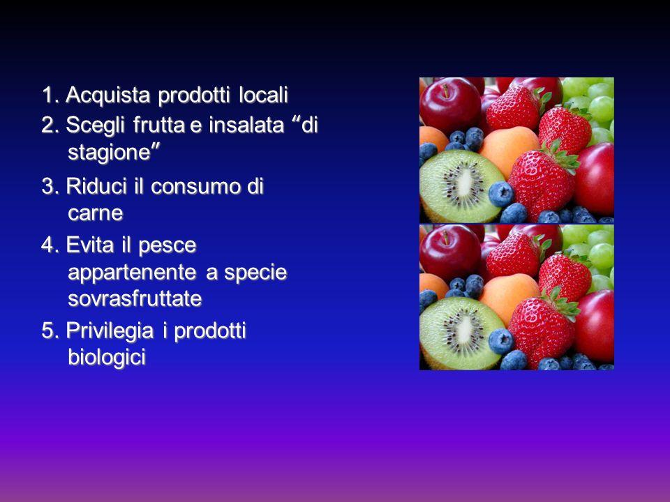 1. Acquista prodotti locali 2. Scegli frutta e insalata di stagione 3. Riduci il consumo di carne 4. Evita il pesce appartenente a specie sovrasfrutta