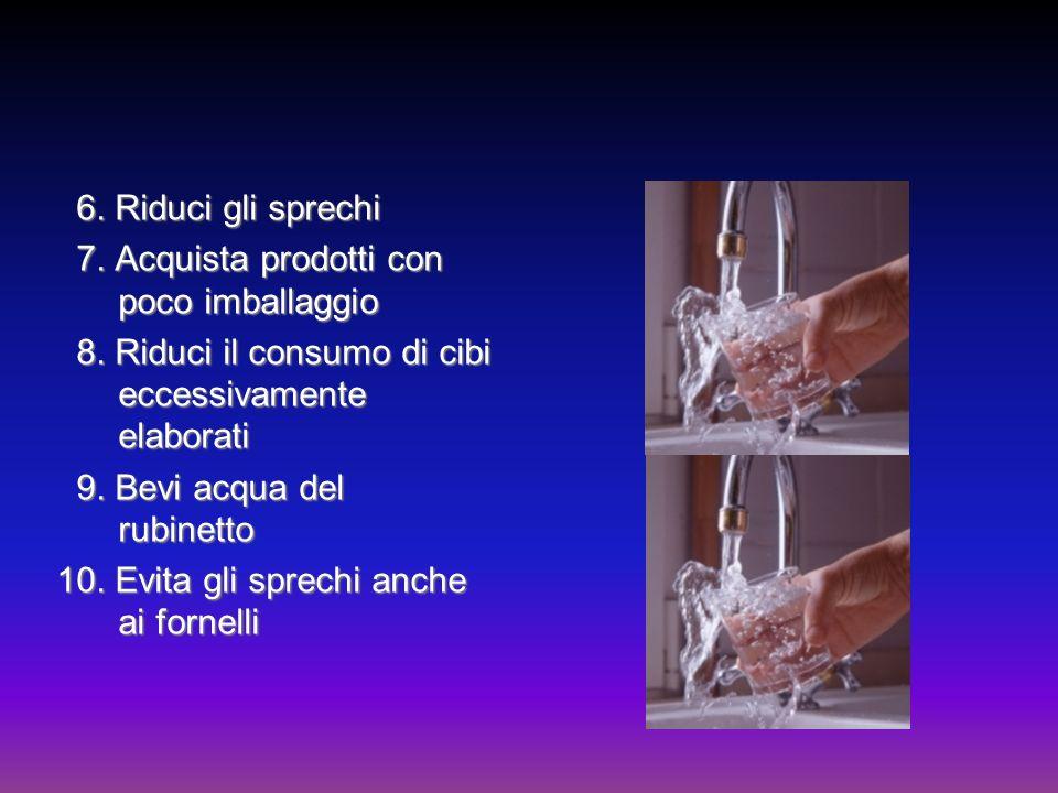 6. Riduci gli sprechi 7. Acquista prodotti con poco imballaggio 8. Riduci il consumo di cibi eccessivamente elaborati 9. Bevi acqua del rubinetto 10.