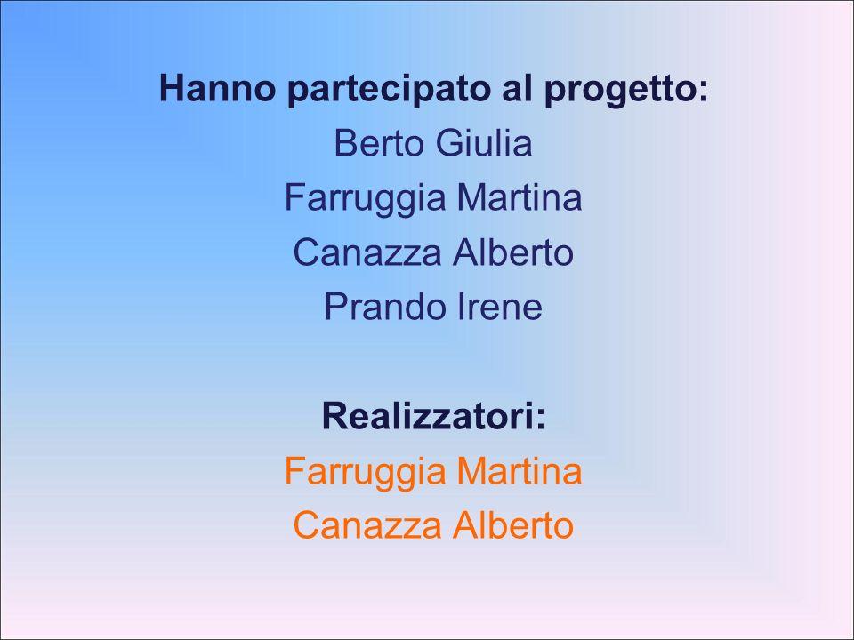 Hanno partecipato al progetto: Berto Giulia Farruggia Martina Canazza Alberto Prando Irene Realizzatori: Farruggia Martina Canazza Alberto