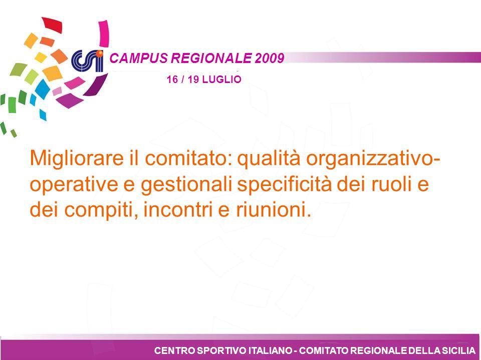 Tesseramento CENTRO SPORTIVO ITALIANO - COMITATO REGIONALE DELLA SICILIA CAMPUS REGIONALE 2009 16 / 19 LUGLIO Sei epistemi per costruire un Comitato a cura della Presidenza regionale