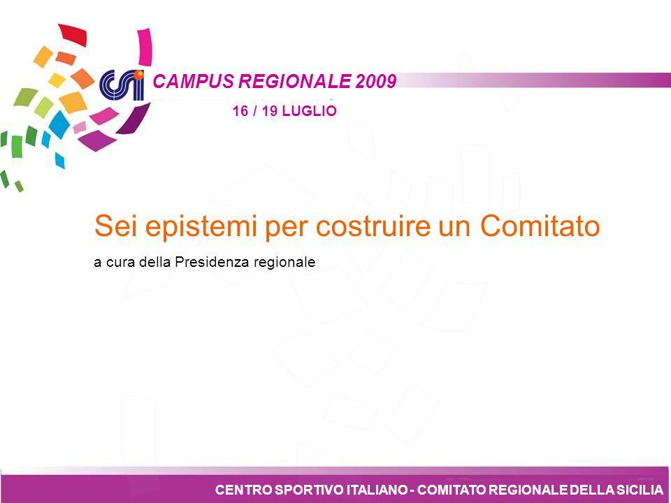 Tesseramento CENTRO SPORTIVO ITALIANO - COMITATO REGIONALE DELLA SICILIA CAMPUS REGIONALE 2009 16 / 19 LUGLIO 6.