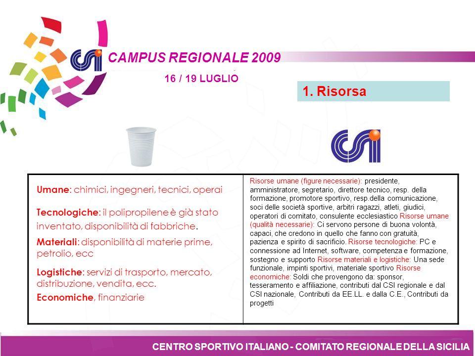 Tesseramento CENTRO SPORTIVO ITALIANO - COMITATO REGIONALE DELLA SICILIA CAMPUS REGIONALE 2009 16 / 19 LUGLIO 2.