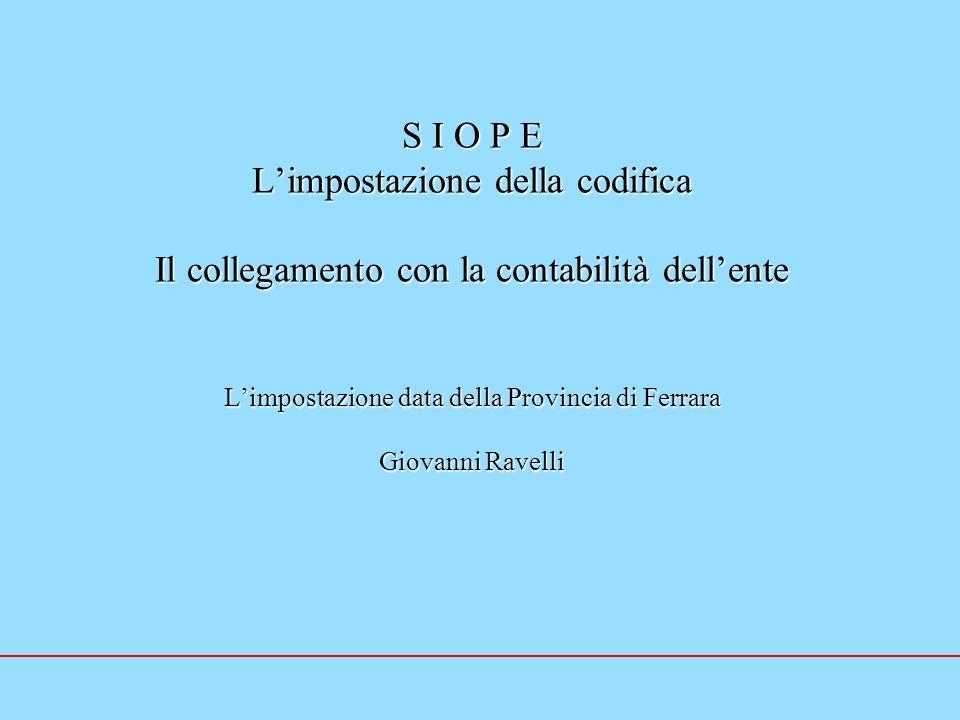 S I O P E Limpostazione della codifica Il collegamento con la contabilità dellente Limpostazione data della Provincia di Ferrara Giovanni Ravelli