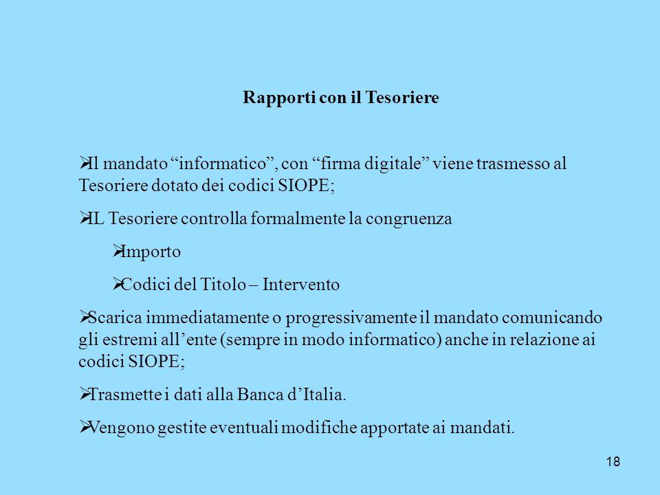 18 Rapporti con il Tesoriere Il mandato informatico, con firma digitale viene trasmesso al Tesoriere dotato dei codici SIOPE; IL Tesoriere controlla f
