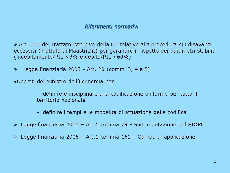 2 Riferimenti normativi » Art. 104 del Trattato istitutivo della CE relativo alla procedura sui disavanzi eccessivi (Trattato di Maastricht) per garan