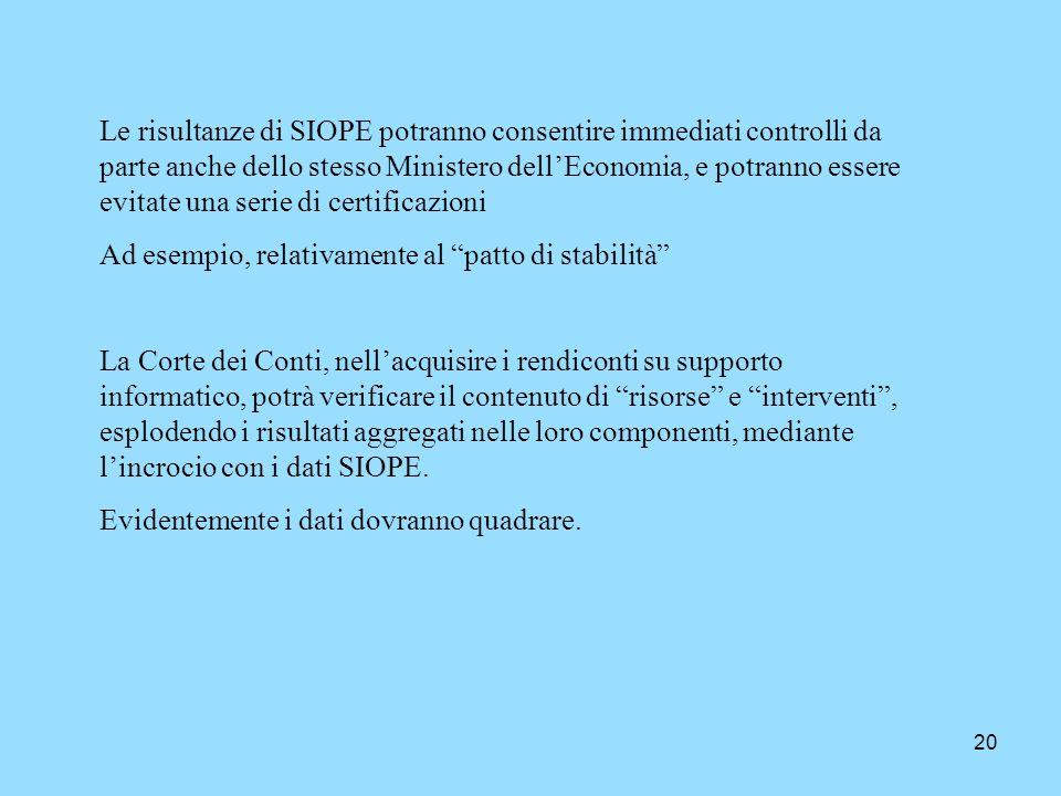 20 Le risultanze di SIOPE potranno consentire immediati controlli da parte anche dello stesso Ministero dellEconomia, e potranno essere evitate una se