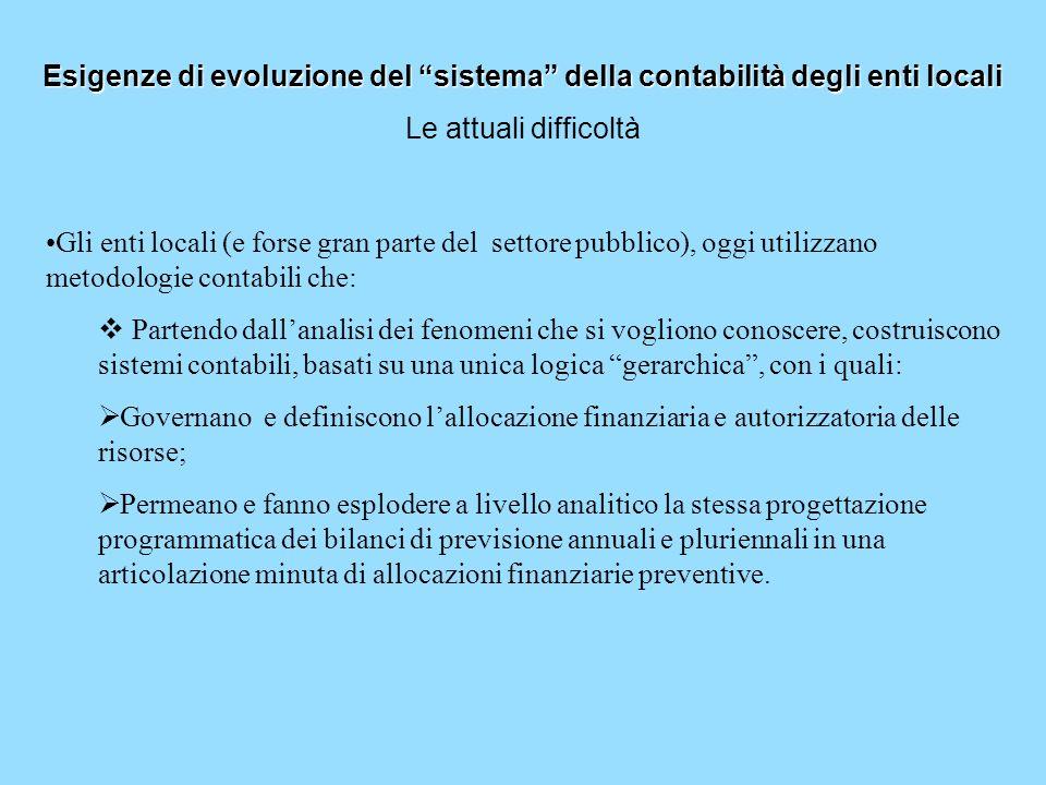 Esigenze di evoluzione del sistema della contabilità degli enti locali Le attuali difficoltà Gli enti locali (e forse gran parte del settore pubblico)