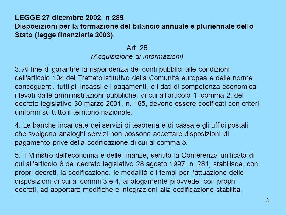 3 LEGGE 27 dicembre 2002, n.289 Disposizioni per la formazione del bilancio annuale e pluriennale dello Stato (legge finanziaria 2003). Art. 28 (Acqui