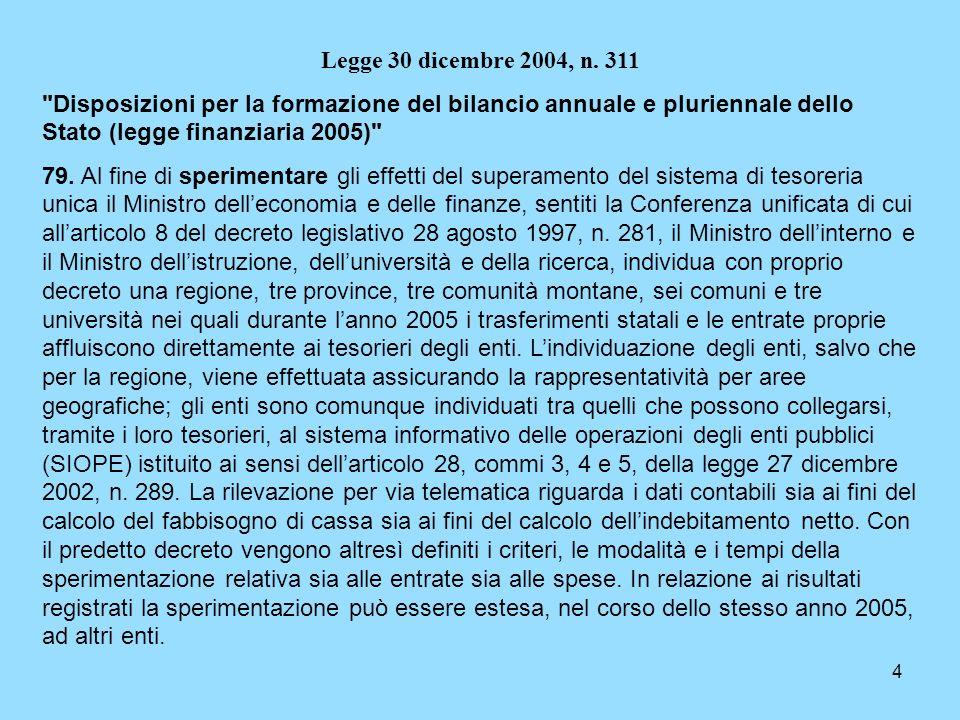 4 Legge 30 dicembre 2004, n. 311