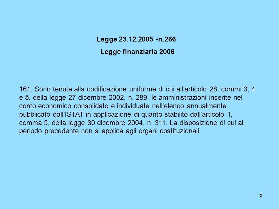 5 Legge 23.12.2005 -n.266 Legge finanziaria 2006 161. Sono tenute alla codificazione uniforme di cui allarticolo 28, commi 3, 4 e 5, della legge 27 di