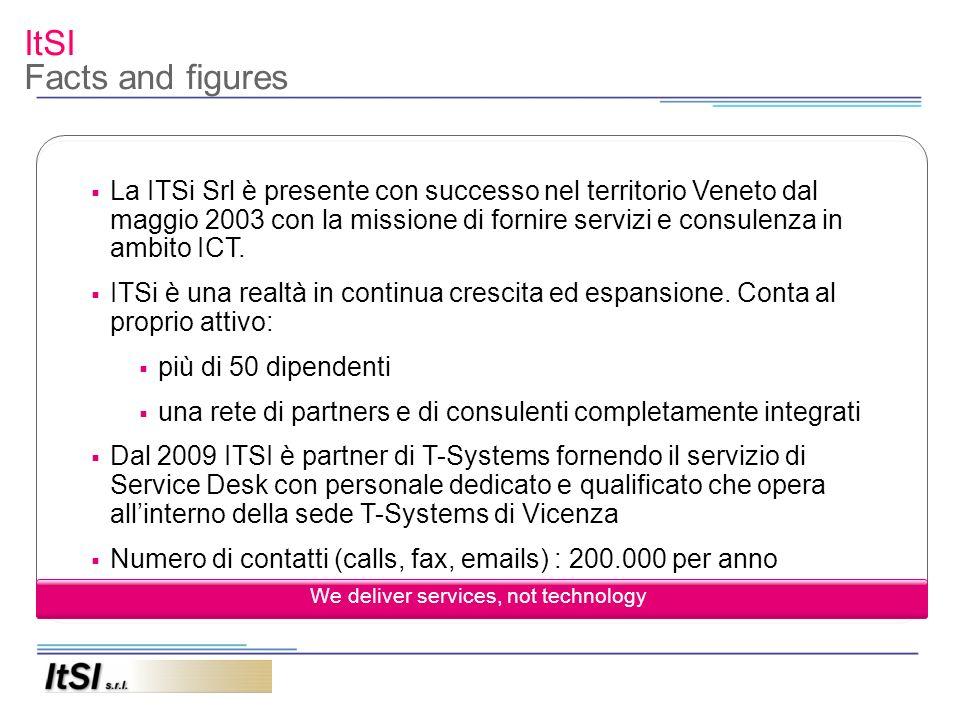 ItSI Facts and figures La ITSi Srl è presente con successo nel territorio Veneto dal maggio 2003 con la missione di fornire servizi e consulenza in am