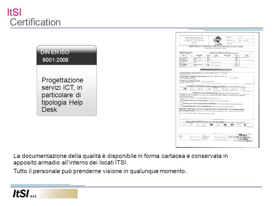 ItSI Certification Progettazione servizi ICT, in particolare di tipologia Help Desk DIN EN ISO 9001:2008 La documentazione della qualità è disponibile in forma cartacea e conservata in apposito armadio allinterno dei locati ITSI.