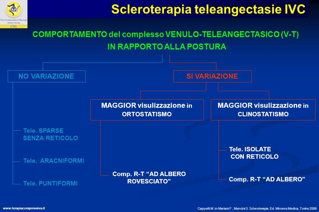 COMPORTAMENTO del complesso VENULO-TELEANGECTASICO (V-T) IN RAPPORTO ALLA POSTURA NO VARIAZIONE Tele. SPARSE SENZA RETICOLO Tele. ARACNIFORMI Tele. PU