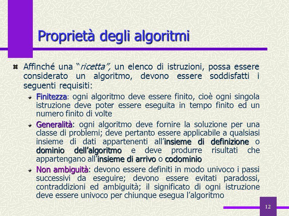 12 Affinché una ricetta, un elenco di istruzioni, possa essere considerato un algoritmo, devono essere soddisfatti i seguenti requisiti: Finitezza Fin