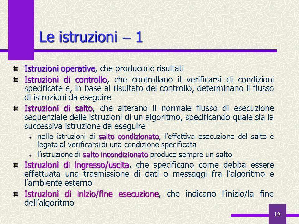 19 Istruzioni operative Istruzioni operative, che producono risultati Istruzioni di controllo Istruzioni di controllo, che controllano il verificarsi