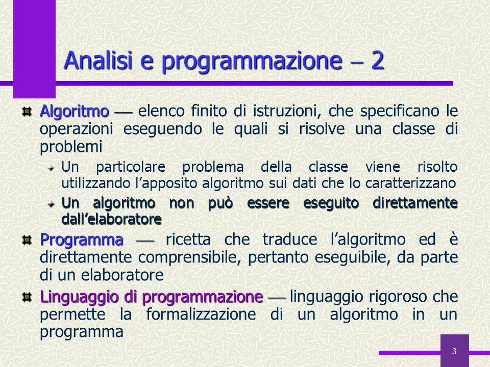 3 Algoritmo Algoritmo elenco finito di istruzioni, che specificano le operazioni eseguendo le quali si risolve una classe di problemi Un particolare p