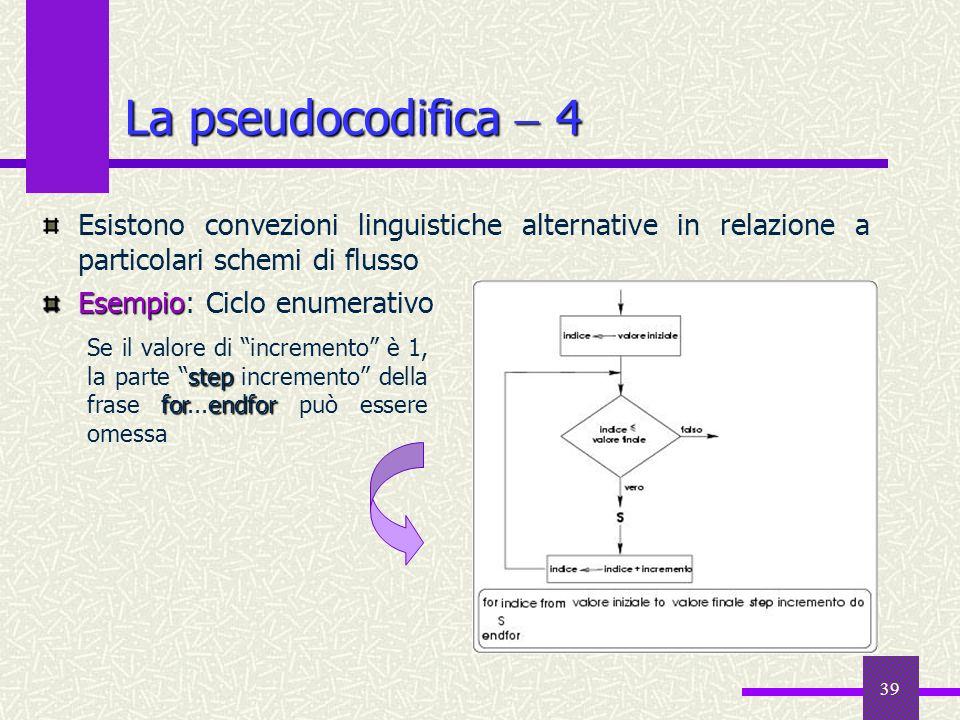 39 Esistono convezioni linguistiche alternative in relazione a particolari schemi di flusso Esempio Esempio: Ciclo enumerativo La pseudocodifica 4 ste