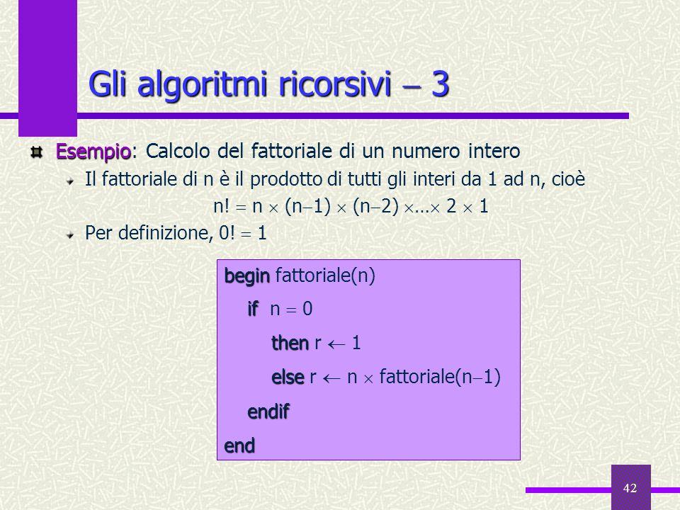 42 Esempio Esempio: Calcolo del fattoriale di un numero intero Il fattoriale di n è il prodotto di tutti gli interi da 1 ad n, cioè n! n (n 1) (n 2) …