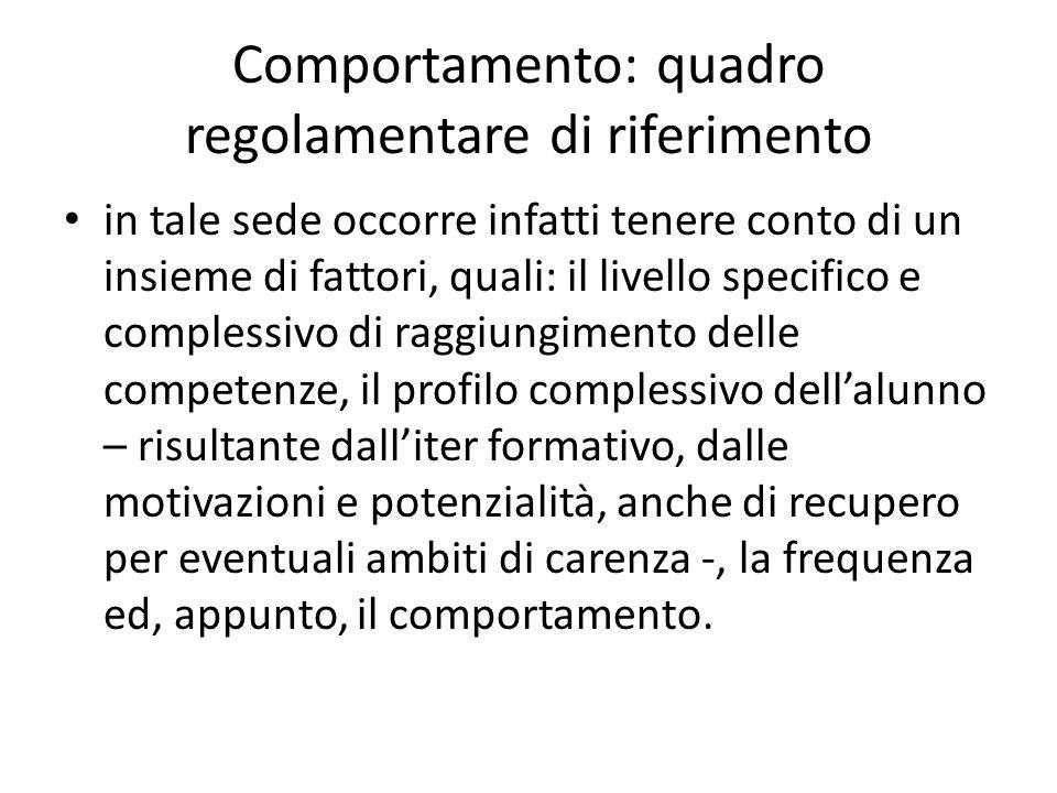 Comportamento: quadro regolamentare di riferimento in tale sede occorre infatti tenere conto di un insieme di fattori, quali: il livello specifico e c