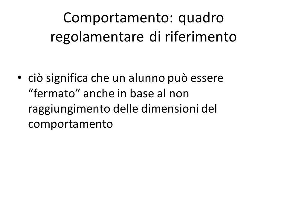 Comportamento: quadro regolamentare di riferimento ciò significa che un alunno può essere fermato anche in base al non raggiungimento delle dimensioni