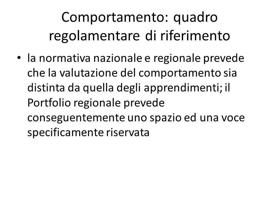 Comportamento: quadro regolamentare di riferimento la normativa nazionale e regionale prevede che la valutazione del comportamento sia distinta da que