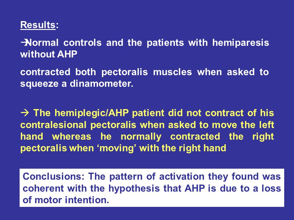 Results: Normal controls and the patients with hemiparesis without AHP contracted both pectoralis muscles when asked to squeeze a dinamometer.
