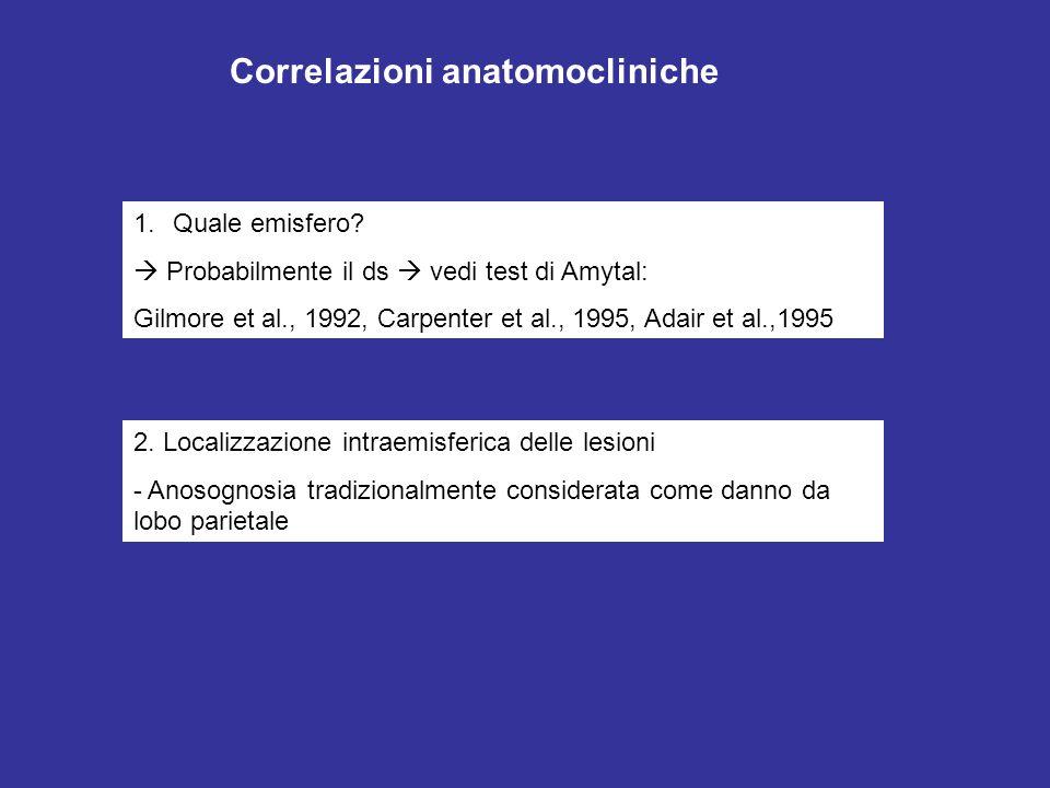 1.Quale emisfero? Probabilmente il ds vedi test di Amytal: Gilmore et al., 1992, Carpenter et al., 1995, Adair et al.,1995 2. Localizzazione intraemis