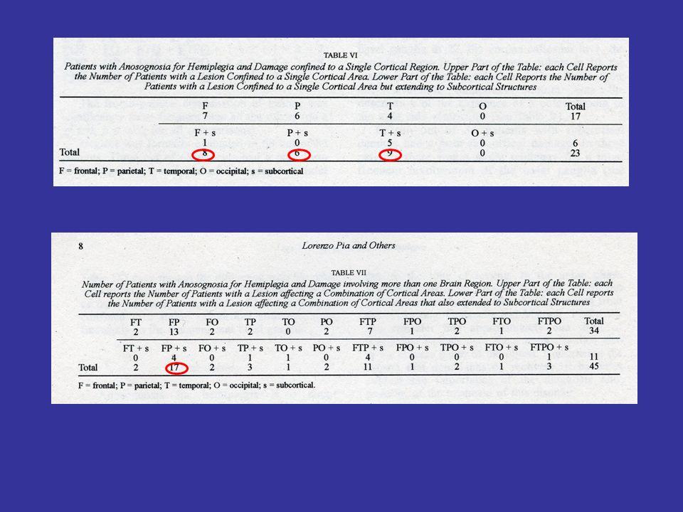Pazienti con solo anosognosia Lesioni solo sottocorticali