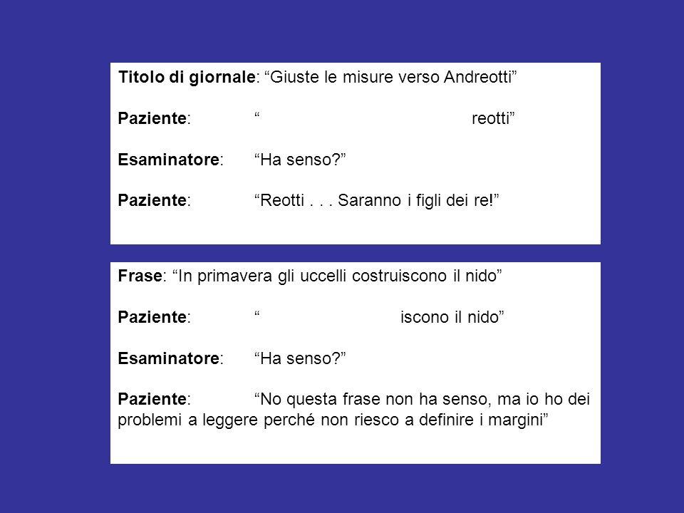 Titolo di giornale: Giuste le misure verso Andreotti Paziente: reotti Esaminatore:Ha senso? Paziente:Reotti... Saranno i figli dei re! Frase: In prima